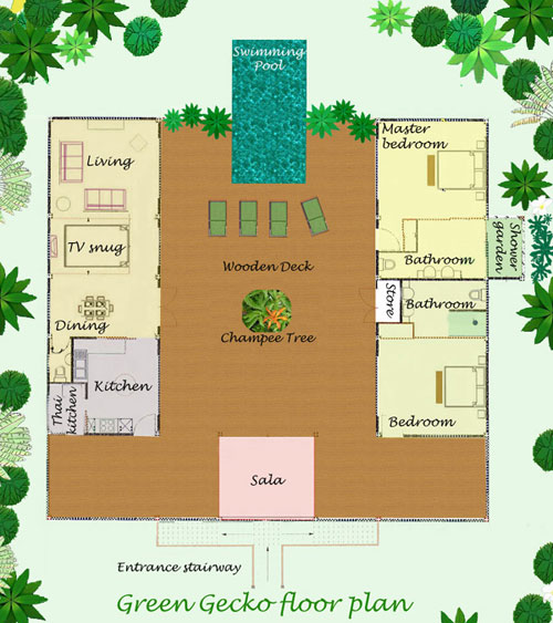 Home Design Thailand: Floor Plan And Layout Of This Thai Holiday Villa For Rent