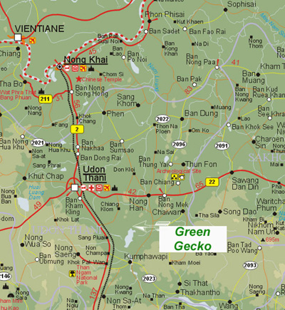 to Thai holiday villa location map Udon Thani Thailand